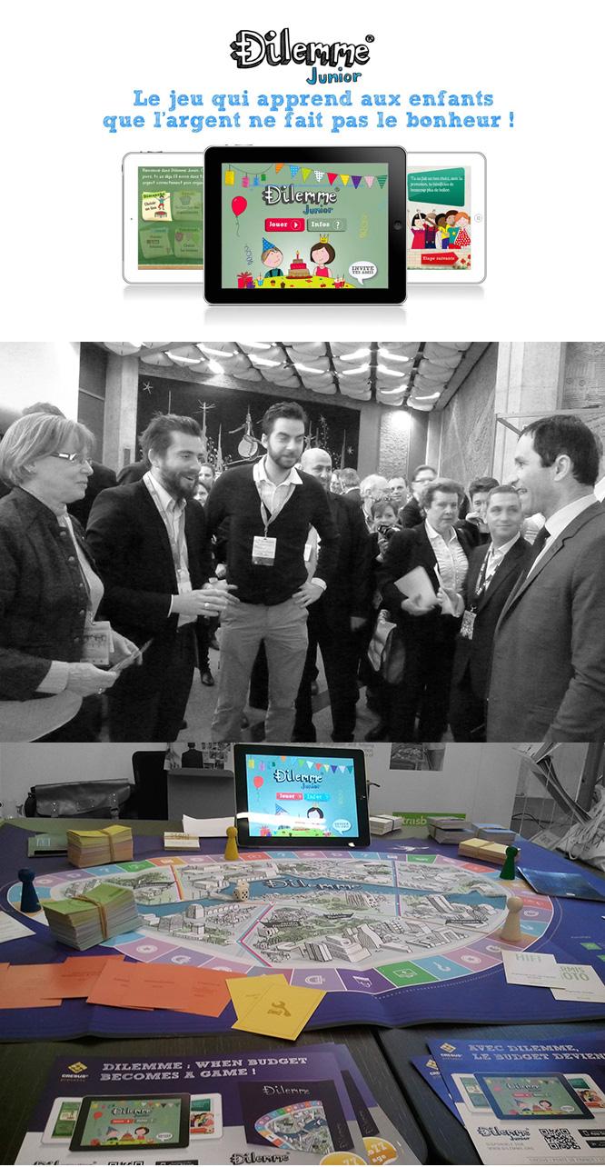 Crésus et Teekila présentent les jeux Dilemme et Dilemme Junior à Benoît Hamon (ministre délégué auprès du ministre de l'économie et des finances, chargé de l'économie sociale et solidaire et de la consommation) au salon Europtimist vendredi 17/01/2014